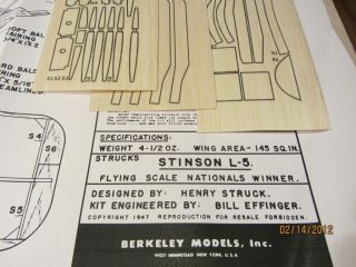Berkeley 34 Stinson L 5 Sentinel Balsa Model Airplane Kit
