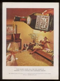 1960 St Bernard Dog Photo Hennessy Cognac Print Ad