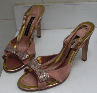 Beverly Feldman Pink Sandals Slingbacks Heels Swarovski Crystals Bows