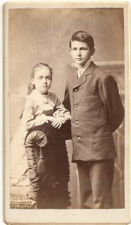 CDV Charming Brother Sister from Berea Ohio Backstamp