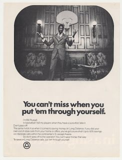 1974 Bell Telephone Long Distance Bill Russell Photo Ad