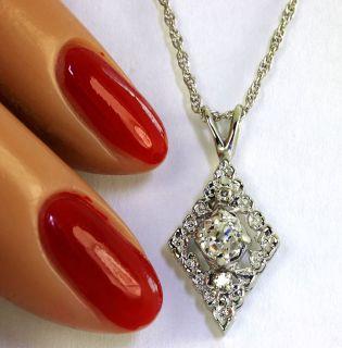 ANTIQUE .40CT CUSHION CUT ROUND DIAMOND 14K WHITE GOLD ORNATE PENDANT