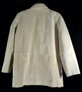 Bernardo Light Beige Suede Leather Button Womans Jacket Machine