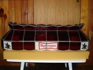 Vintage Stained Glass Budweiser Pool Table Light