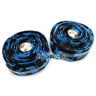 Road Bike Bicycle Cork Handlebar Tape Wrap Black Blue