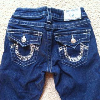 True Religion Women Billy Clear Crystal Rhinestone Jeans Dark Wash