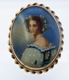 Antique Hand Painted Portrait Cameo Pin Pendant 14k Y G