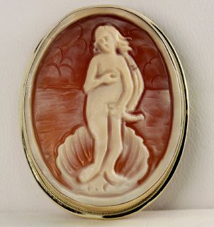 BIRTH OF VENUS CARVED SHELL CAMEO PENDANT BROOCH 14K YELLOW GOLD