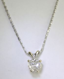 AMAZING .90CT HEART E COLOR DIAMOND SOLITAIRE 14K WHITE GOLD PENDANT