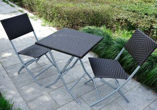 Folding Bistro Set Rattan Wicker Table Patio Garden Furniture