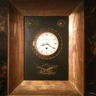 VINTAGE 8 DAY WARREN KESSLER BETHPAGE NY GILT PICTURE FRAME WALL CLOCK