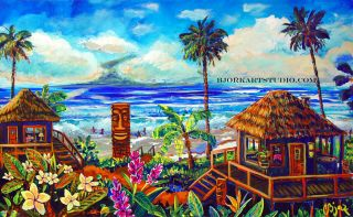Original Art Painting Tiki Surf Fire Lava Island Big Wave Surf
