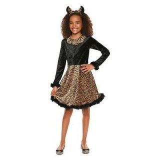 New Leopard Girl Costume Dress w/Tail Cheetah Child Velour Feathers