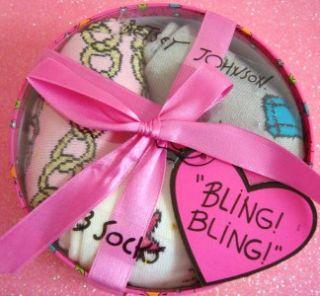 100% Betsey Johnson Christmas Gift Box Bling Jewelry Socks 3 Pairs