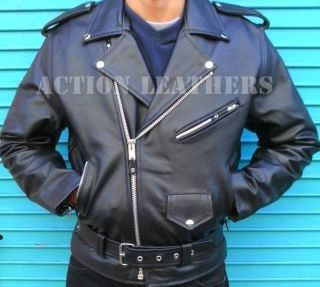 Mens Black Brando Motorcycle Biker Jacket 100 Leather
