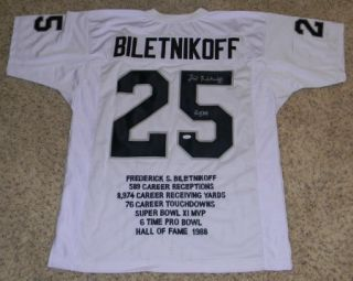 FRED BILETNIKOFF SIGNED AUTOGRAPHED OAKLAND RAIDERS #25 WHITE STAT