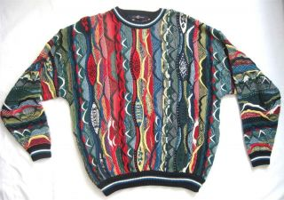 Vintage Bill Cosby Sweater Size L Vivid Bright Textured Teal Green Red