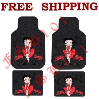 New 4pc Set Cartoon Skyline Red Betty Boop Car Truck Rubber Floor Mats