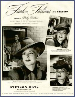 actress betty hutton in 1944 stetson ladies hats ad