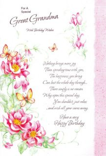 Birthday Card for A Special Great Grandma with Birthday Wishes