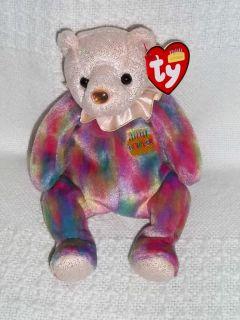 2001 Ty BEANIE BABY Plush HAPPY BIRTHDAY OCTOBER Bear Stuffed Toy Opal