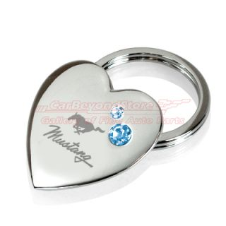 Heart Shape Blue Crystals Key Chain Keychain Key Ring Free Gift