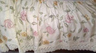 Shabby cottage chic Bibb Company FULL bed skirt beige w/ yellow mauve