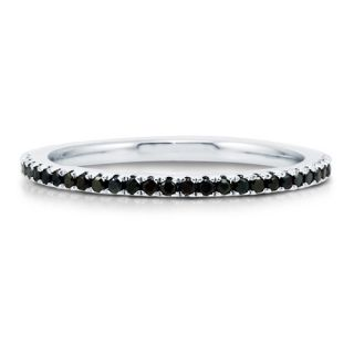 Black Cubic Zirconia CZ 925 Sterling Silver Full Eternity Ring Band Sz