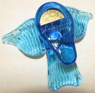 Leo Ward Blue Bird of Happiness Glass Flying Wings Spread Figurine