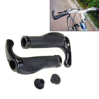 Bicycle Cycling Lock On Handlebar Grips Ends Black Rubber Mountain MTB