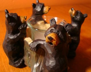 Wood Carved Black Bear Candle Holder Rustic Lodge Log Cabin Home Decor