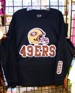 San Francisco 49ers Black LS Long Sleeve Tee s M L XL 2XL 3XL 4XL 5XL