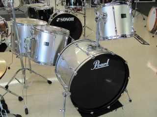 Pearl Export Drum Set Big Rock Silver 4 Piece Shell Pack 24 14 16 18
