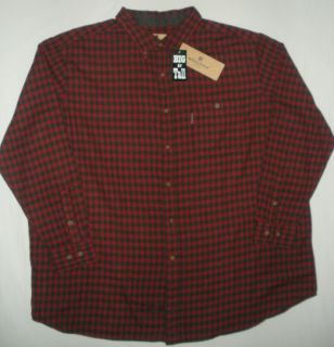 Woolrich Big Tall Trout Run Buffalo Red Plaid Flannel Button Up Shirt
