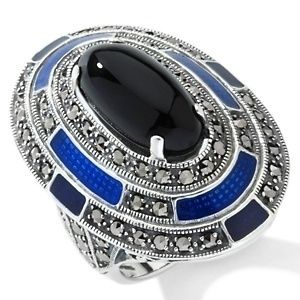 Designs Black Onyx Marcasite Blue Enamel Art Deco Ring Size 6