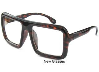 BIG LARGE Flat Top Thick Bold Demi Square Frame Clear Lens Hipster