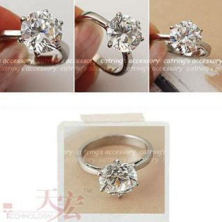 Cute Charming Love Heart Zircon Stone Ring Gift Accessory