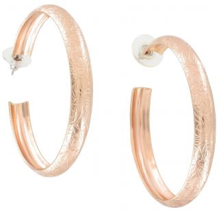 New Rose Gold Plated Big Hoop Etched Earrings Made USA 2 1/4