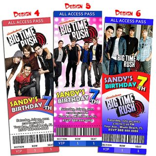 Big Time Rush BTR Invitation Birthday Party Ticket