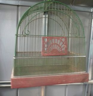 Vintage Crown wire bird cage decorative planter house antique green