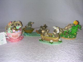 Charming Tails Mice Figurines Teacup Cup Hope Waterslide Rowboat Day