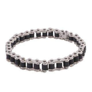 Mens Solid Stainless Steel Link Bike Chain 8 Bracelet