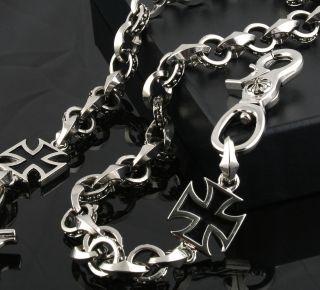 Iron Cross Pendant Classic Biker Trucker Keychain Key Jean Wallet