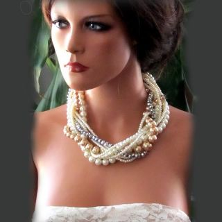 Handmade Bridal necklace,Bridesmaid, Ivory Champagne twisted pearl