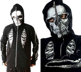Jacket Gothic Zombie Bones Mask Punk Rocker Coat Biker Moto
