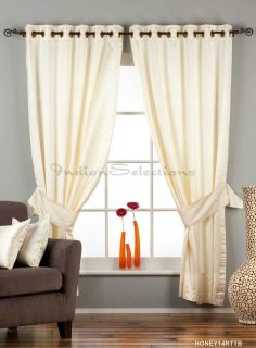 Cream Ring Grommet Top 90 Blackout Curtain Drape Panel with Matching