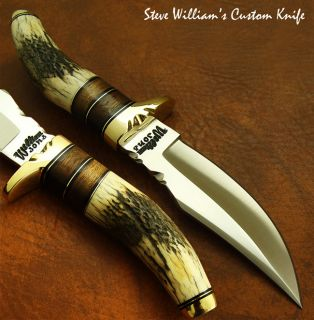 Steve Williams 1 of A Kind Custom Knife O1 Tool Steel Stag Antler