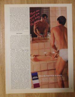 1987 Print Ad Bill Blass for Hanes Mens Underwear Briefs Ill Bring