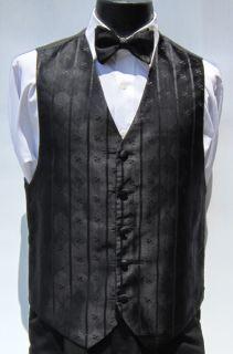 Mens Black Bill Blass Fullback Vest Bow Tie Wedding Prom