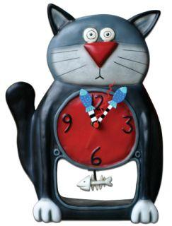 MICHELLE ALLEN DESIGNS Wall Desk Clock Black Cat Design Black Kitty